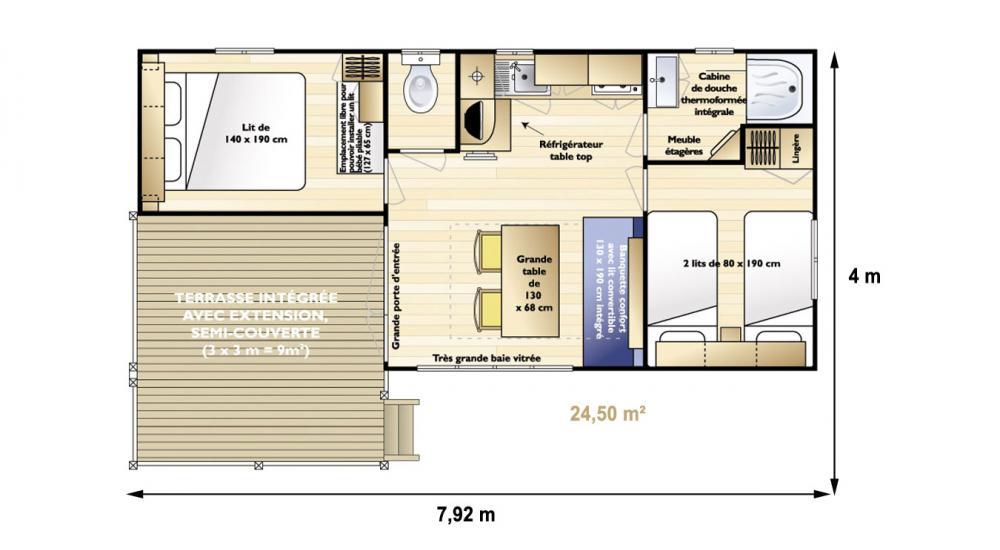 Plan mobil-home loggia 4 personnes